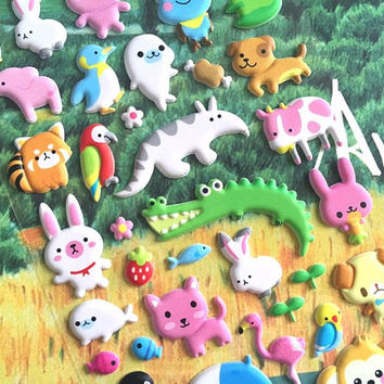 nursery animal sticker cute animal cartoon zoo party puffy sticker red panda hippo frog rabbit alligator penguin rare animal sticker gift