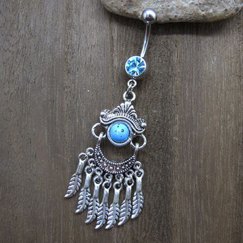 Dream Catcher Belly Button Ring , Feather Belly Button Ring ,Blue Beads Belly ButtonJewelry,Summer Jewelry ,Unique Gift