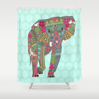 painted elephant aqua spot Shower Curtain by Sharon Turner