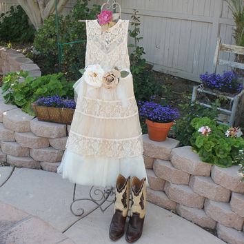Boho Party Dress - Unique Boho Clothing - Lagenlook Wedding Dress - Organically Tea Stained Shabby Garden Party Dress