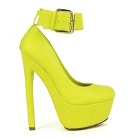 Fahrenheit Fiona-06 High Heel Platform Pump With Ankle-Strap in Lime @ ippolitan.com