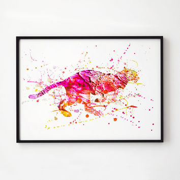 Wildlife decor Colorful print Cheetah watercolor EM167