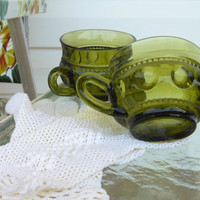 Two Tiffin Green Kings Crown Thumbprint Coffee Mugs Indiana Glass Company Thumbprint Tea Cups, Pair Avocado Green Tiffin Mugs