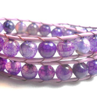 Double Wrap Leather Bracelet Radiant Orchid Beads