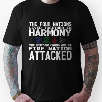 The Four Nations - Avatar: The Last Airbender (White Text) Unisex T-Sh
