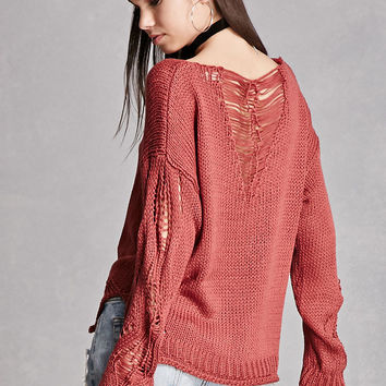 Open-Knit V-Neck Sweater