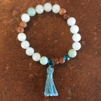 Mala Stretch Bracelet, Teal Beads, Teal Blue Tassel, Yoga, Zen Inspired, Bohemian Fashion