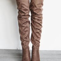 Such A Rush Platform Taupe Knee High Heel Boots