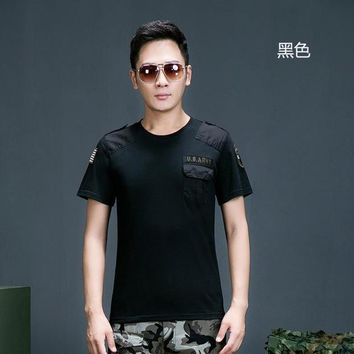 Hiking Shirt Combat Summer Outdoor Couples Cotton Breathable Perspire Short Sleeve Shirt Men Women Military Tactical Combat O Neck Pullover Tshirt KO_15_1