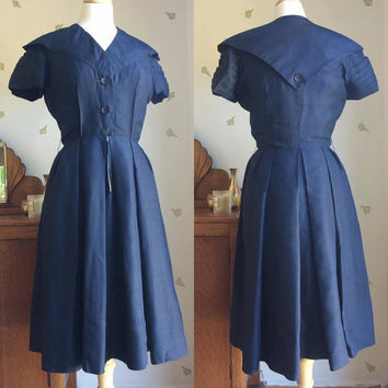 1950's Navy Nautical Dress / Fit & Flare / 26 Waist / Sailor Collar / New Look / Vintage 50s