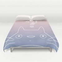 Stay Curious | Serenity & Rose Quartz Duvet Cover by Miss L In Art