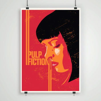 Pulp fiction minimalistic pop art poster print retro movie illustration mia wallace