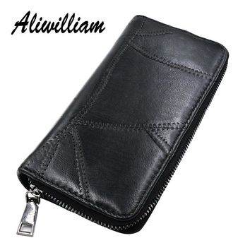 Vintage Genuine Leather Long Women Wallets Patchwork Soft Natural Lady Wallet Clutch Sheepskin Female Coin Purse Card Holders