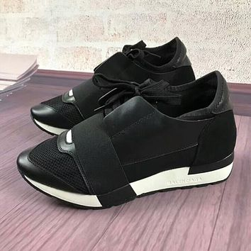 BALENCIAGA New Trending Women Men Casual Shoes Black(White Sole) I-OMDP-GD