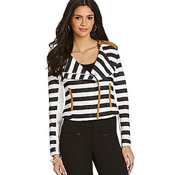 Gibson & Latimer Striped Moto Jacket - Black/White