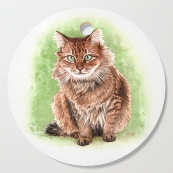 Somali cat portrait Cutting Board by savousepate