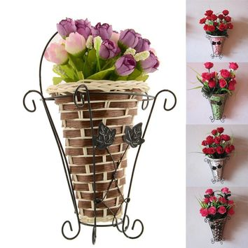2017 Hot Sale Wall Hanging Artificial Flower Plant Basket Flower Arrangment Vase Home Table Room Decor