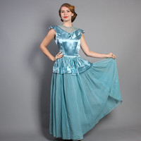 40s Light Blue Evening GOWN / SATIN Princess Party Dress, s