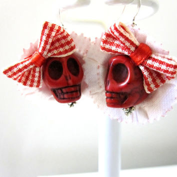 Sugar Skull Earrings Day Of The Dead Red White Hat Bow