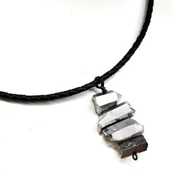Mens Stone Necklace. Leather Cord Necklace w/ Crystal Pendant. Guys Gemstone Jewelry. Crystal Choker. Unisex Necklace for Him & her.