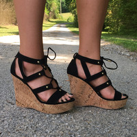 Take Your Time Wedge: Black Suede