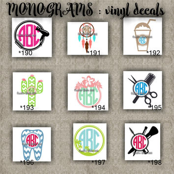 MONOGRAM vinyl decals | name | initial | decal | sticker | car decals | car stickers | laptop sticker - 190-198