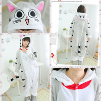 Free Shipping New Cat Animal Onesuits Adult Unisex Cosplay Theme Costume Flannel Pajamas For Size S M L XL Ex-factory Price