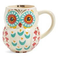 Natural Life 'Be Happy' 16oz. Owl Mug - White