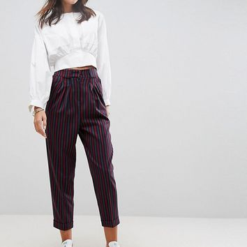 ASOS Tailored Mansy Peg Trouser In Coloured Stripe at asos.com