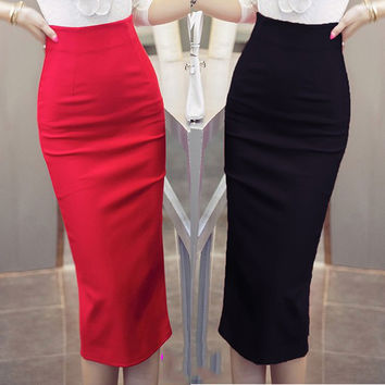 Women Skirt Midi Skirt OL Sexy Open Slit Slim stretch High waist Pencil Skirt Elegant Ladies Skirts 2 Colors