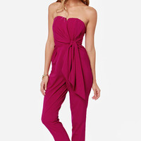 Fuchsia Pleated Strapless Chiffon Jumpsuit