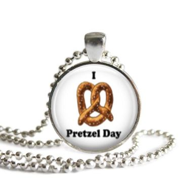 The Office Pretzel Day 1 Inch Silver Plated Pendant Necklace Handmade