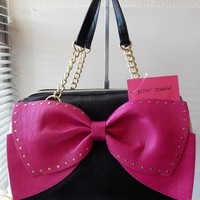 Betsey Johnson Bow Regard Black White Fuchsia Gold Studded Large Satchel Handbag