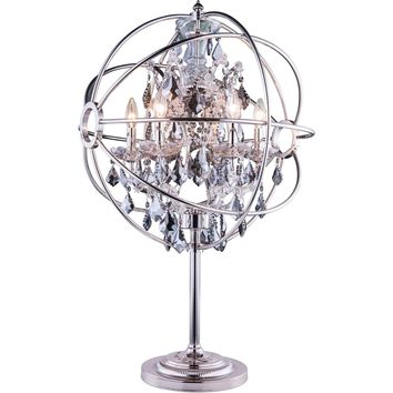 "Geneva 22"" Diam Table Lamp, Polished Nickel, Silver Shade Crystal, Royal Cut"