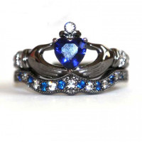 Vibrant Blue Topaz Heart simulated diamond black gold Claddagh ring set