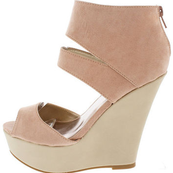 FINDER344 BLUSH CUT OUT ANKLE STRAP WEDGE