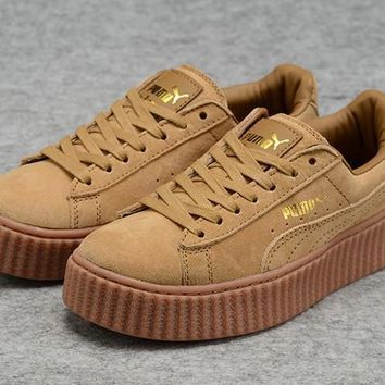 Mens Womens Puma Fenty by Rihanna Creepers Brown Gold Suede Shoes
