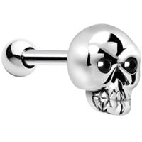 Silver 925 Black Gem Skull Cartilage Tragus Earring | Body Candy Body Jewelry