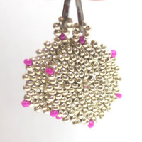 Disc Go Round Earrings in Silver with Hot Pink / Fuchsia