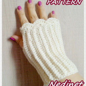 Fingerless Gloves With, Crochet Pattern Hand Warmers,Winter Accessories PATTERN pdf