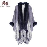 Faux Fur Collar Cape Poncho.