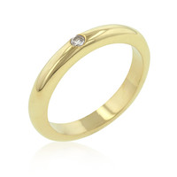 Solitaire CZ Golden Wedding Band