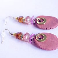 Bright Pink Jewelry - Women's gift - Rustic gift for her- clear bead & ceramic earring dangle