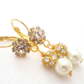 Gold Rhinestone Vintage Style Dangle Pearl Earrings
