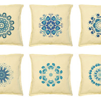 Snowflake Printed Khaki Decorative Throw Pillows Cover Case VPLC_02 Size 18x18