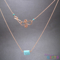 """Sleeping beauty turquoise rectangle on chain, 18"""" Necklace Gold Or Silver"""