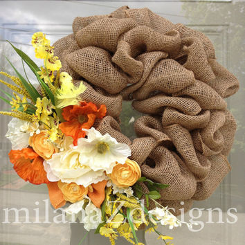 Burlap Wreath, Floral Decor, Summer Wreath, Wedding Bridal Shower Decorations, Baby Shower, Country Wreath, Baby Girl Nursery, Fall Wreath