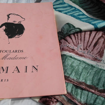 RARE 60's Unused Balmain Paris Jolie Madame Silk Scarf Made in France In its Pink Box Cream Scarf Green Purple Bird Painting  Hand Rolled
