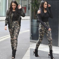 Womens Cool Camo High Waist Stretch Jeans