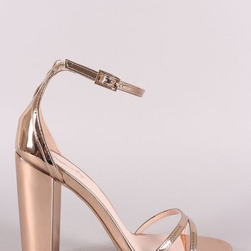 Qupid Mirrored Metallic Ankle Strap Chunky Heel